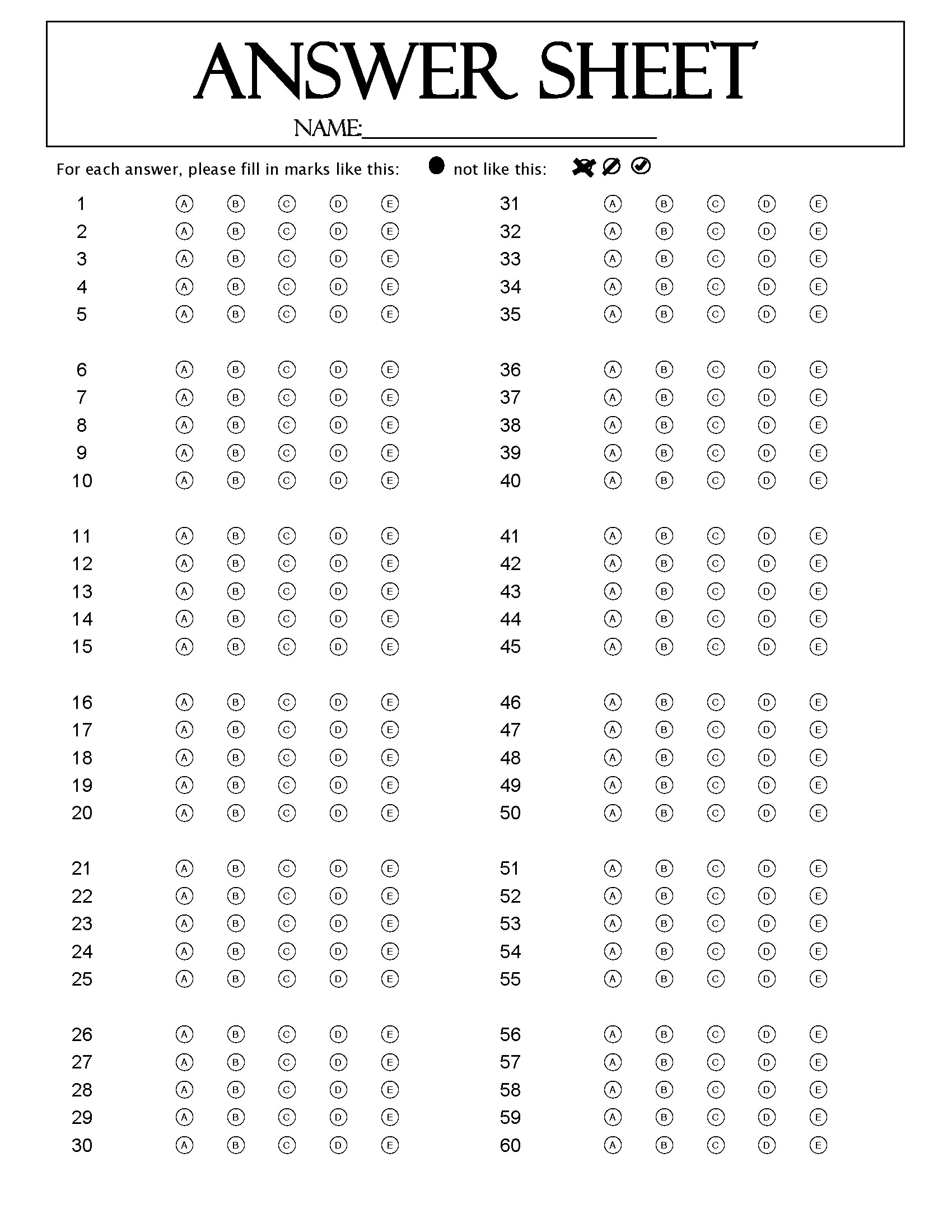 This form is a two page, 120 Question Answer Sheet designed in ...