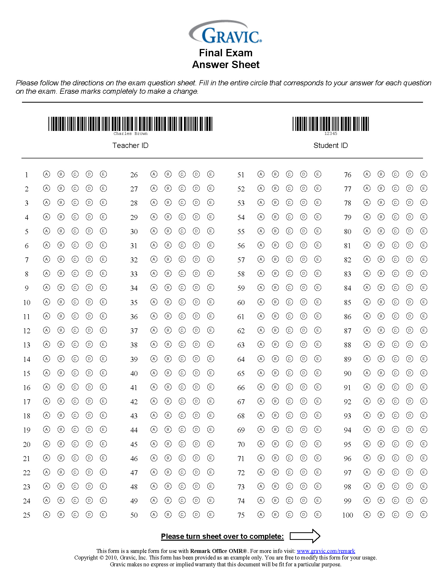200 Question Answer Sheet with Extra Credit and Barcode · Remark ...