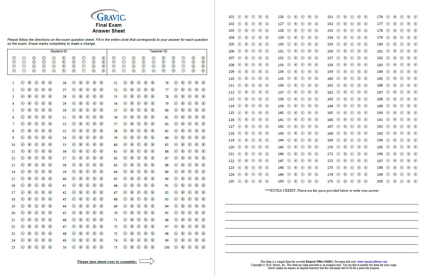 200 Question Test Answer Sheet with Extra Credit and Grid ID ...