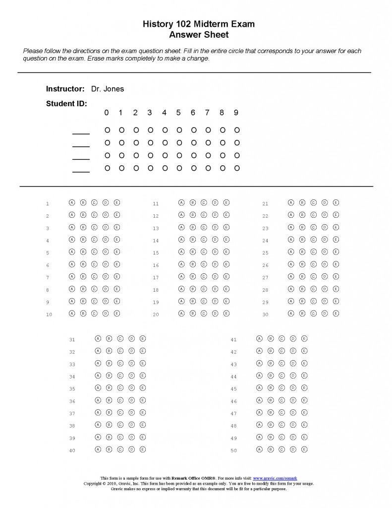 50 question test answer sheet  u00b7 remark software