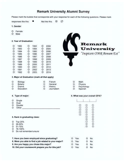 Alumni survey created in Word for scanning with Remark Office OMR
