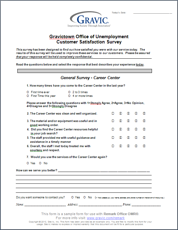 Office of unemployment customer satisfaction survey for Office design questionnaire