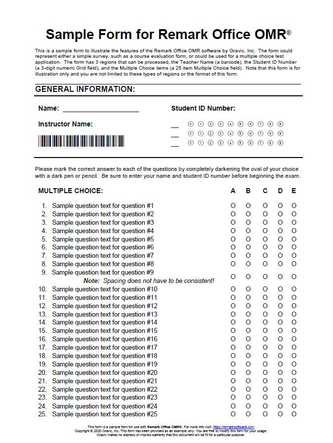 Sample Answer Sheet for Remark Office OMR