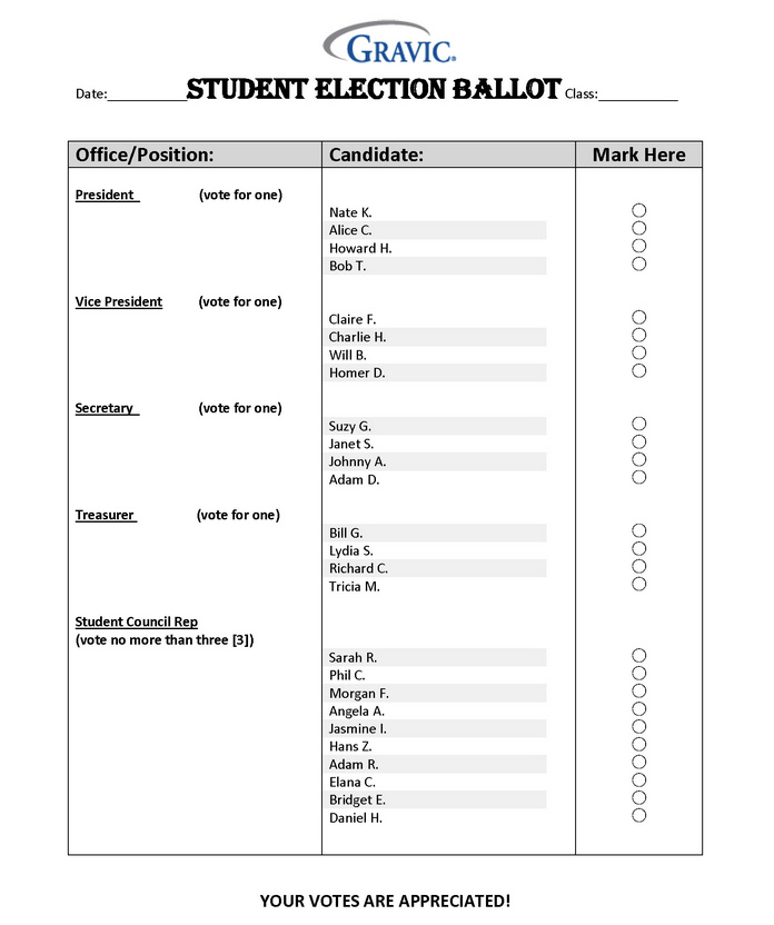 Student Election Ballot for Remark Office OMR