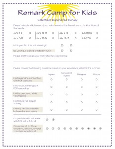 Volunteer Experience Survey for Remark Office OMR