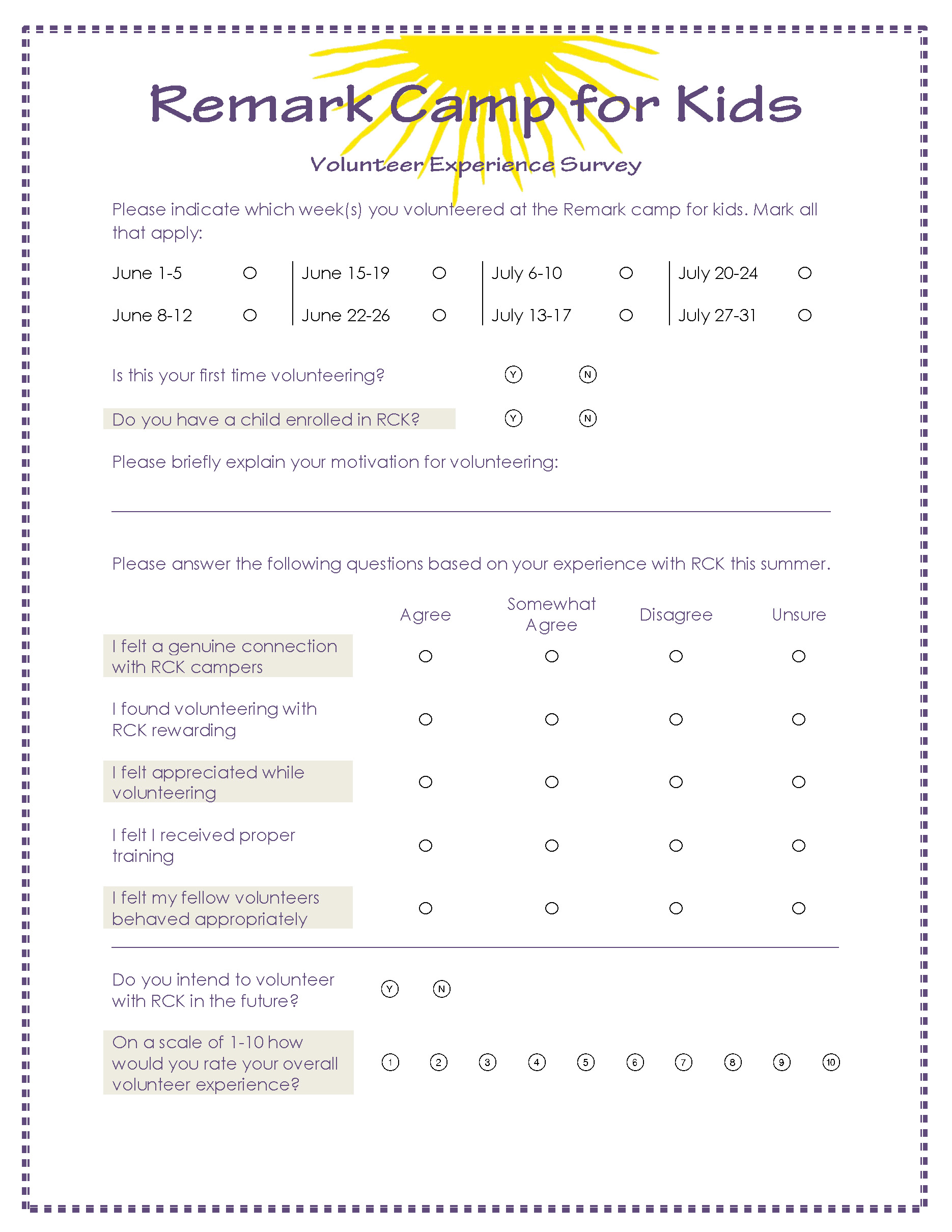 Volunteer experience survey remark software for Volunteer questionnaire template