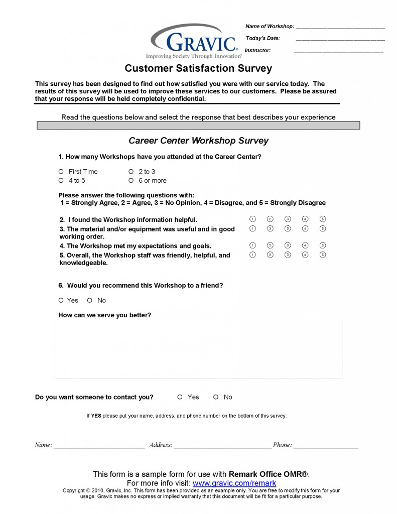 Career Center Workshop Survey for Remark Office OMR