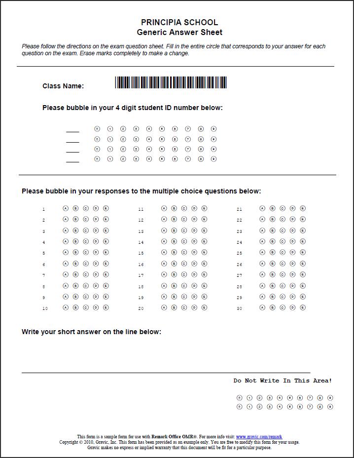 Generic-Answer-Sheet