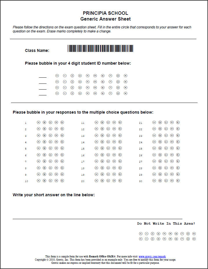 Generic School Test Answer-Sheet for use with Remark Office OMR