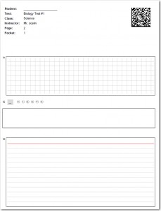 Test Answer Sheet with graphing, essay and short answer