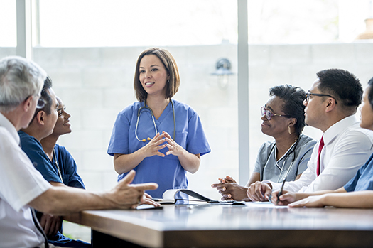 Doctors meeting about research study