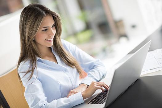 Teacher working online