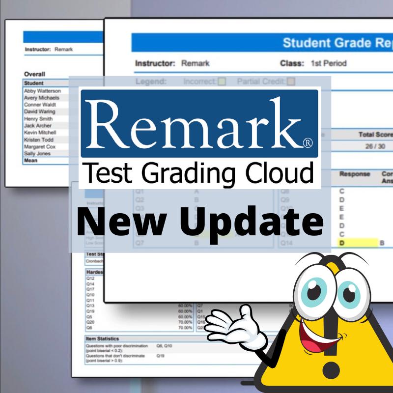 remark test grading cloud update
