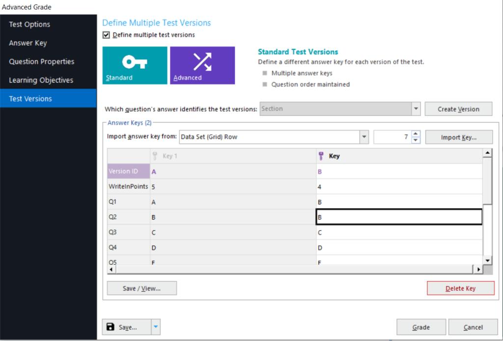 Remark Office OMR multiple test versions