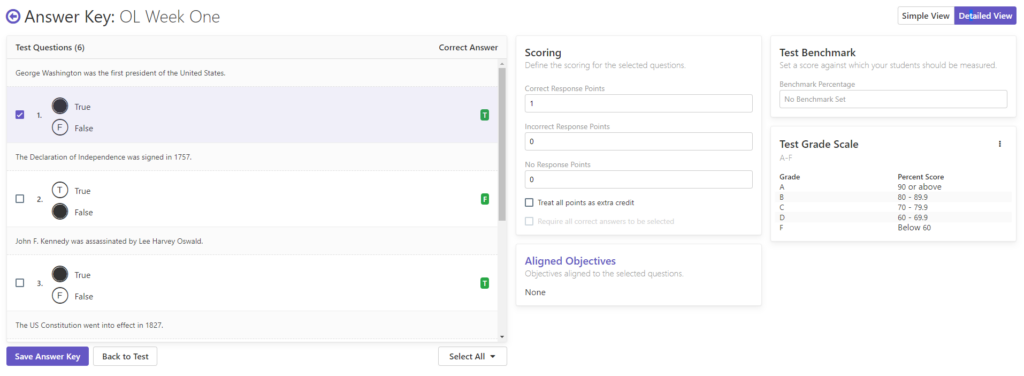 Remark Test Grading Cloud Answer Key